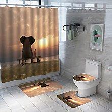 Shower Curtain Sets Sunset Elephant 4Pcs Shower