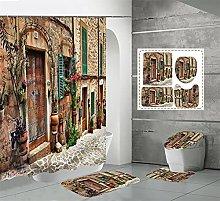 Shower Curtain Sets Vintage Wall 4Pcs Shower