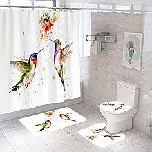 Shower Curtain Sets Watercolor Birds 4Pcs Shower