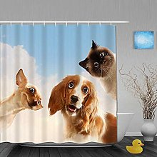 Shower Curtain,Three Home Pets Next to Each Other