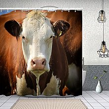 Shower Curtain with 12 Hooks,Beast Blue Head Cow