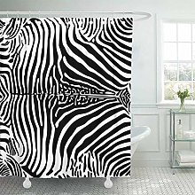 Shower Curtain with Hooks Abstract Zebra Pattern
