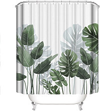 Shower Curtain with Hooks, Banana Leaves Tropical