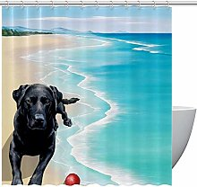 Shower Curtain with Hooks, Black Labrador Lying