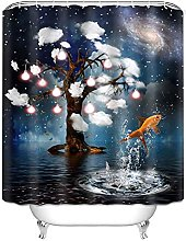 Shower Curtain with Hooks Polyester Fabric Decor