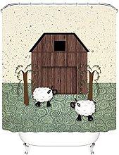 Shower Curtains Waterproof Beige Cartoon Sheep