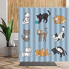 Shower Curtains Waterproof Duck Egg Blue Cat
