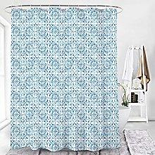 Shower Curtains Waterproof Light Blue Moroccan