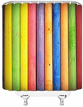Shower Curtains Waterproof Rainbow Wood Grain