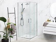 Shower Enclosure Silver Tempered Glass Aluminium