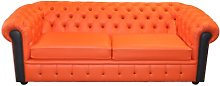 Shugart Leather 3 Seater Chesterfield Sofa