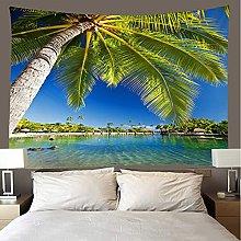 shuimanjinshan Tapestry Beach Throw coconut tree