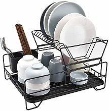 SHYOD Black Drain Rack, Kitchen Dish Rack, Dish