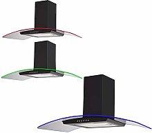 SIA 100cm Black 3 Colour LED Edge Lit Curved Glass
