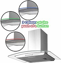 SIA 60cm 3 Colour LED Curved Glass Cooker Hood