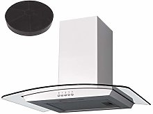 SIA 60cm White Curved Glass Cooker Hood Kitchen