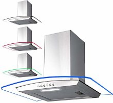 SIA 70cm 3 Colour LED Curved Glass Cooker Hood