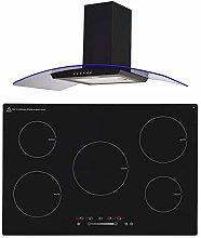 SIA 90cm Black 5 Zone Touch Control Induction Hob