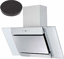 SIA 90cm Stainless Steel Angled Glass Cooker Hood