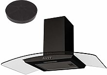 SIA CGH90BL Black 90cm Curved Glass Chimney Cooker