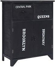Side Cabinet 60x30x75 cm Paulownia Wood Black