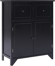 Side Cabinet Black 60x30x75 cm Paulownia Wood