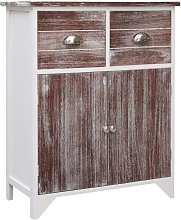 Side Cabinet Brown and White 60x30x75 cm Paulownia