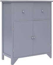 Side Cabinet Grey 60x30x75 cm Paulownia Wood