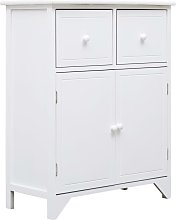 Side Cabinet White 60x30x75 cm Paulownia Wood
