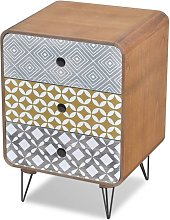 Side Cabinet with 3 Drawers Brown QAH09160 - Hommoo