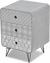 Side Cabinet with 3 Drawers Grey QAH09155 - Hommoo