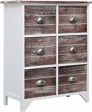 Side Cabinet with 6 Drawers Brown 60x30x75 cm