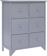 Side Cabinet with 6 Drawers Grey 60x30x75 cm