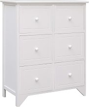 Side Cabinet with 6 Drawers White 60x30x75 cm
