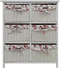 Side Cabinet with Six Baskets White Wood QAH37473