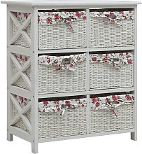 Side Cabinet with Six Baskets White Wood VDTD37473