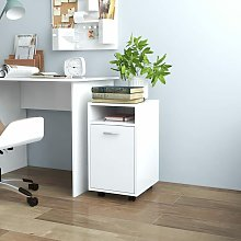 Side Cabinet with Wheels White 33x38x60 cm