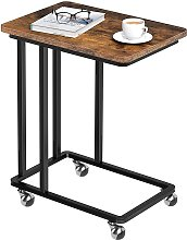 Side Table C Shaped, Mobile End Snack Tray Coffee