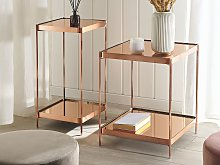 Side Table Copper Tempered Glass Top Metal Legs with Shelf Shiny Glam