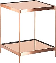 Side Table Square with Shelf Tempered Glass Top