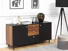 Sideboard Black with Dark Wood Particle Board