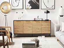 Sideboard Black with Light Wood Particle Board