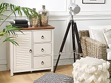 Sideboard Cabinet White and Dark Wooden Top MDF