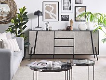 Sideboard Concrete Effect with Black 2 Cabinets 3