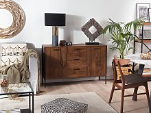 Sideboard Dark Wood and Black with Drawers