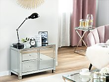 Sideboard Silver Mirrored Glamour Chest Of Drawers