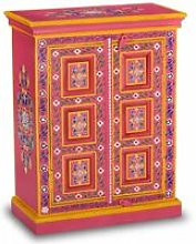 Sideboard Solid Mango Wood Pink Hand Painted -