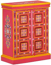 Sideboard Solid Mango Wood Pink Hand Painted - Pink