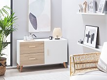 Sideboard White and Light Wood MDF 2 Drawers