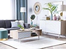 Sideboard White Light Wood 2 Door Cabinet Drawer